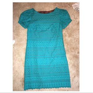 EUC Green Lace Shift Dress Small 6